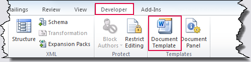 How to show the developer tab in the ribbon for Word 2010 templates and add ins