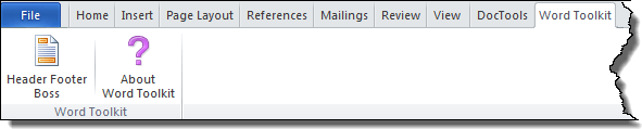 Word Toolkit tab in the Ribbon with the Header Footer Boss command