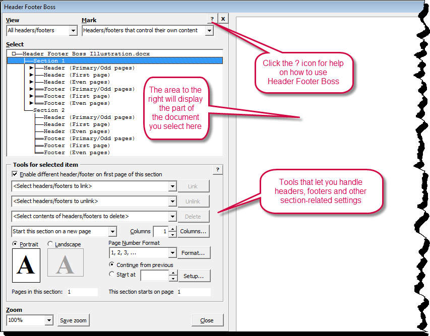 The Header Footer Boos dialog box from where you can manage headers and footer